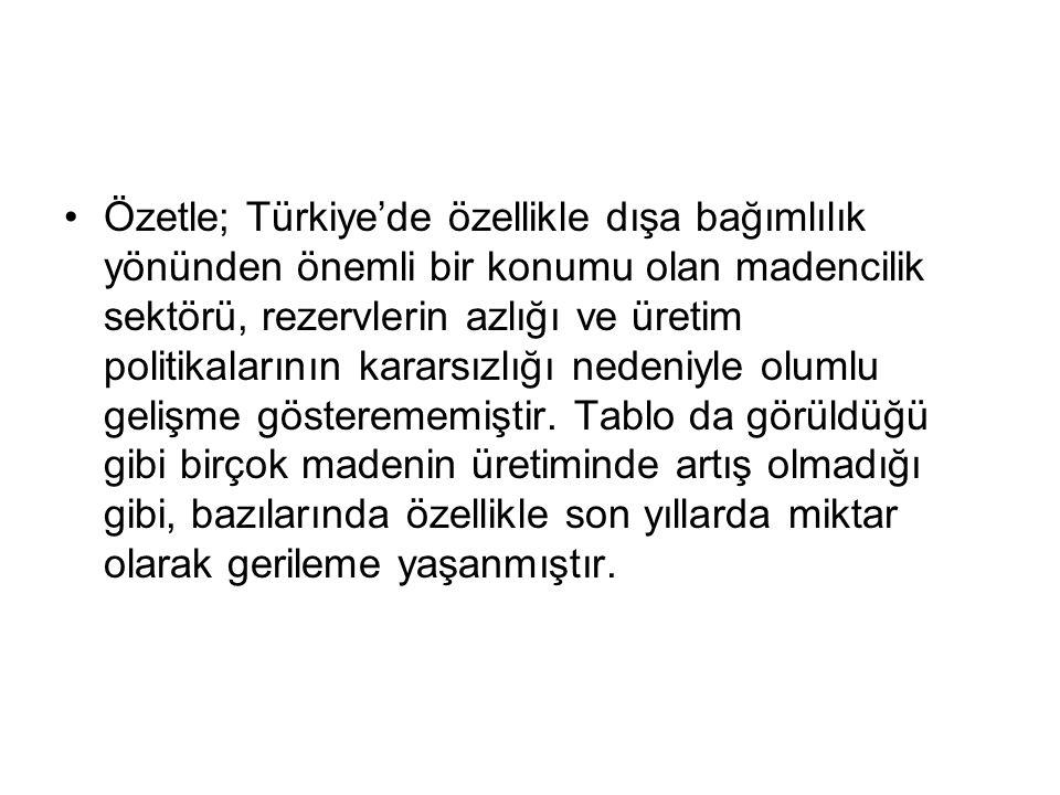 Özetle; Türkiye'de özellikle dışa bağımlılık yönünden önemli bir konumu olan madencilik sektörü, rezervlerin azlığı ve üretim politikalarının kararsızlığı nedeniyle olumlu gelişme gösterememiştir.