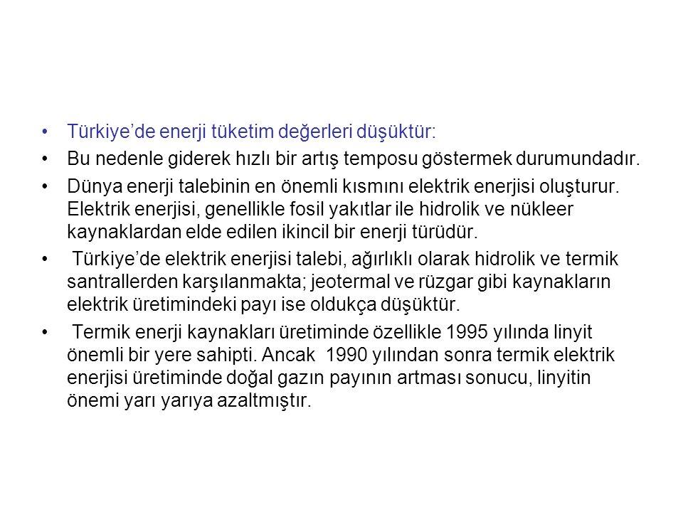 Türkiye'de enerji tüketim değerleri düşüktür: