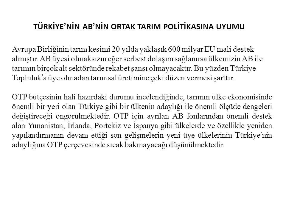 TÜRKİYE'NİN AB'NİN ORTAK TARIM POLİTİKASINA UYUMU
