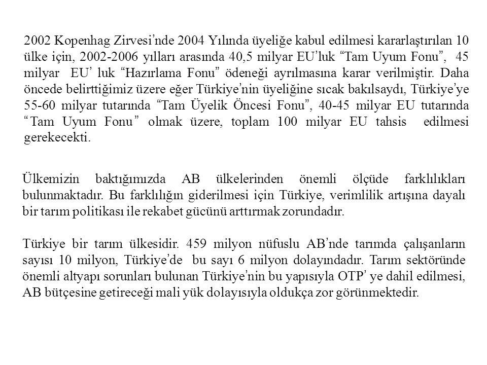 2002 Kopenhag Zirvesi'nde 2004 Yılında üyeliğe kabul edilmesi kararlaştırılan 10 ülke için, 2002-2006 yılları arasında 40,5 milyar EU'luk Tam Uyum Fonu , 45 milyar EU' luk Hazırlama Fonu ödeneği ayrılmasına karar verilmiştir. Daha öncede belirttiğimiz üzere eğer Türkiye'nin üyeliğine sıcak bakılsaydı, Türkiye'ye 55-60 milyar tutarında Tam Üyelik Öncesi Fonu , 40-45 milyar EU tutarında Tam Uyum Fonu olmak üzere, toplam 100 milyar EU tahsis edilmesi gerekecekti.
