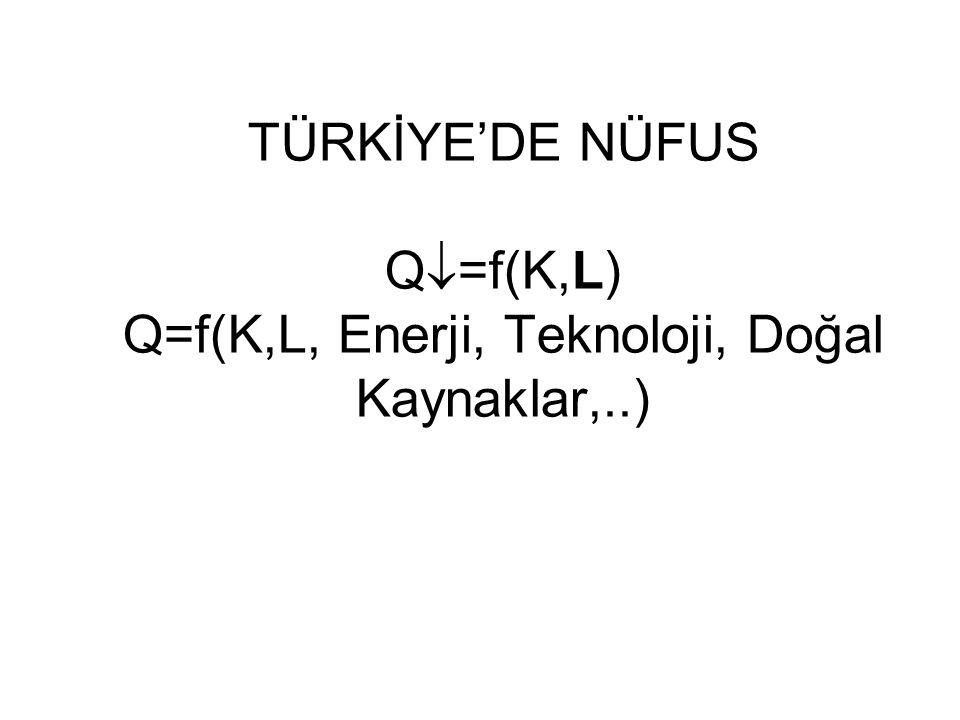 TÜRKİYE'DE NÜFUS Q=f(K,L) Q=f(K,L, Enerji, Teknoloji, Doğal Kaynaklar,..)