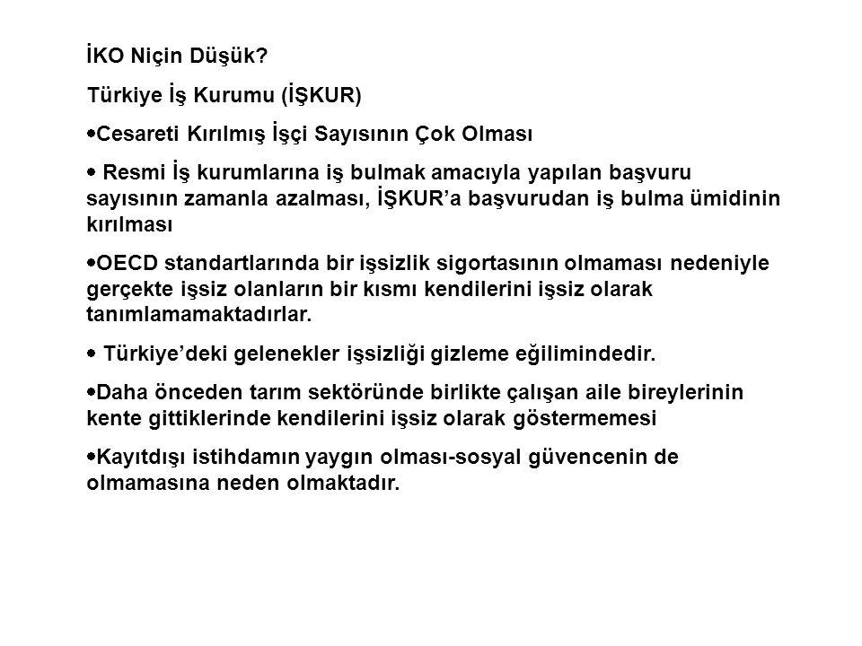 İKO Niçin Düşük Türkiye İş Kurumu (İŞKUR) Cesareti Kırılmış İşçi Sayısının Çok Olması.