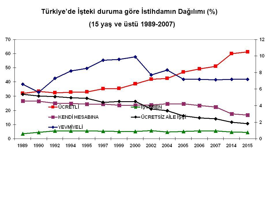 Türkiye'de İşteki duruma göre İstihdamın Dağılımı (%)