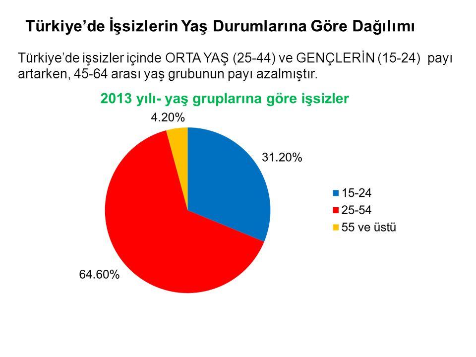 Türkiye'de İşsizlerin Yaş Durumlarına Göre Dağılımı