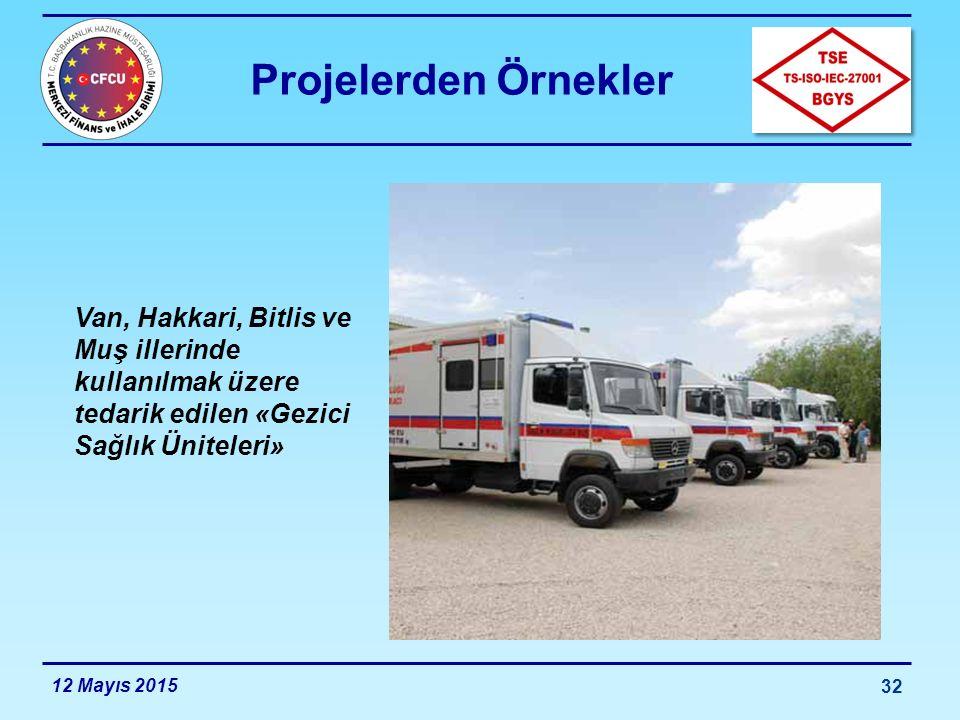 Projelerden Örnekler Van, Hakkari, Bitlis ve Muş illerinde kullanılmak üzere tedarik edilen «Gezici Sağlık Üniteleri»