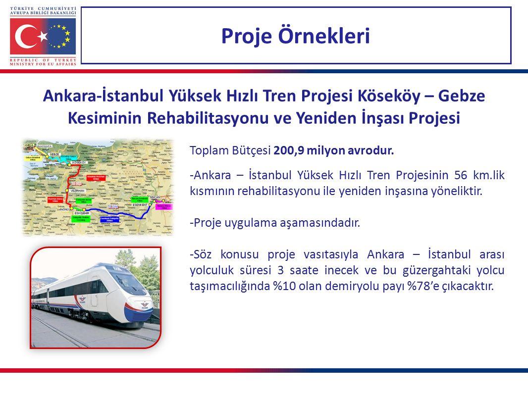 Proje Örnekleri Ankara-İstanbul Yüksek Hızlı Tren Projesi Köseköy – Gebze Kesiminin Rehabilitasyonu ve Yeniden İnşası Projesi.