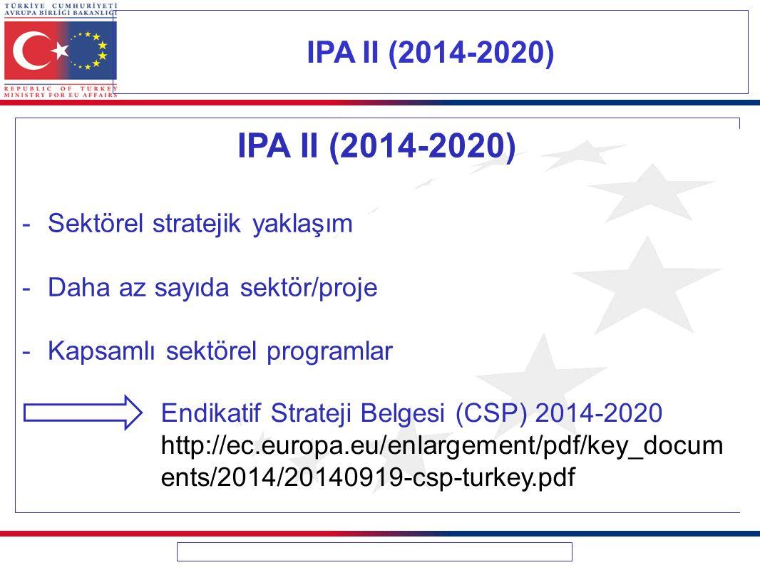 IPA II (2014-2020) IPA II (2014-2020) Sektörel stratejik yaklaşım