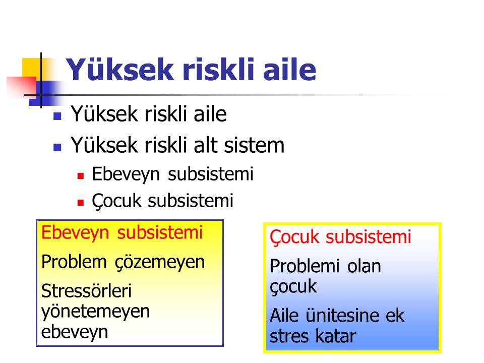 Yüksek riskli aile Yüksek riskli aile Yüksek riskli alt sistem