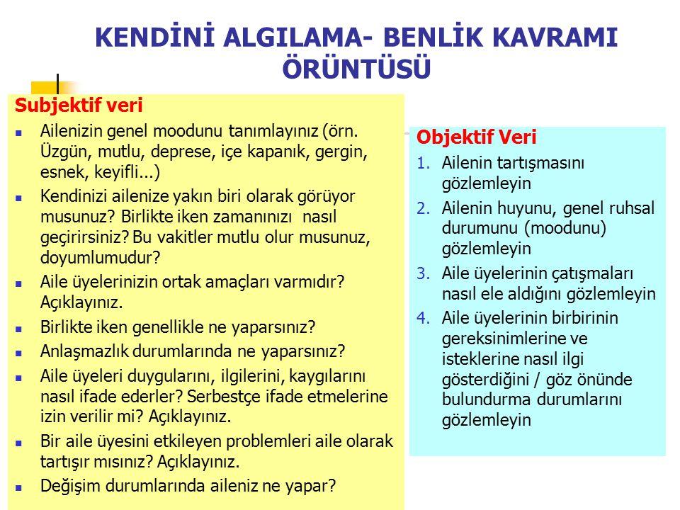 KENDİNİ ALGILAMA- BENLİK KAVRAMI ÖRÜNTÜSÜ