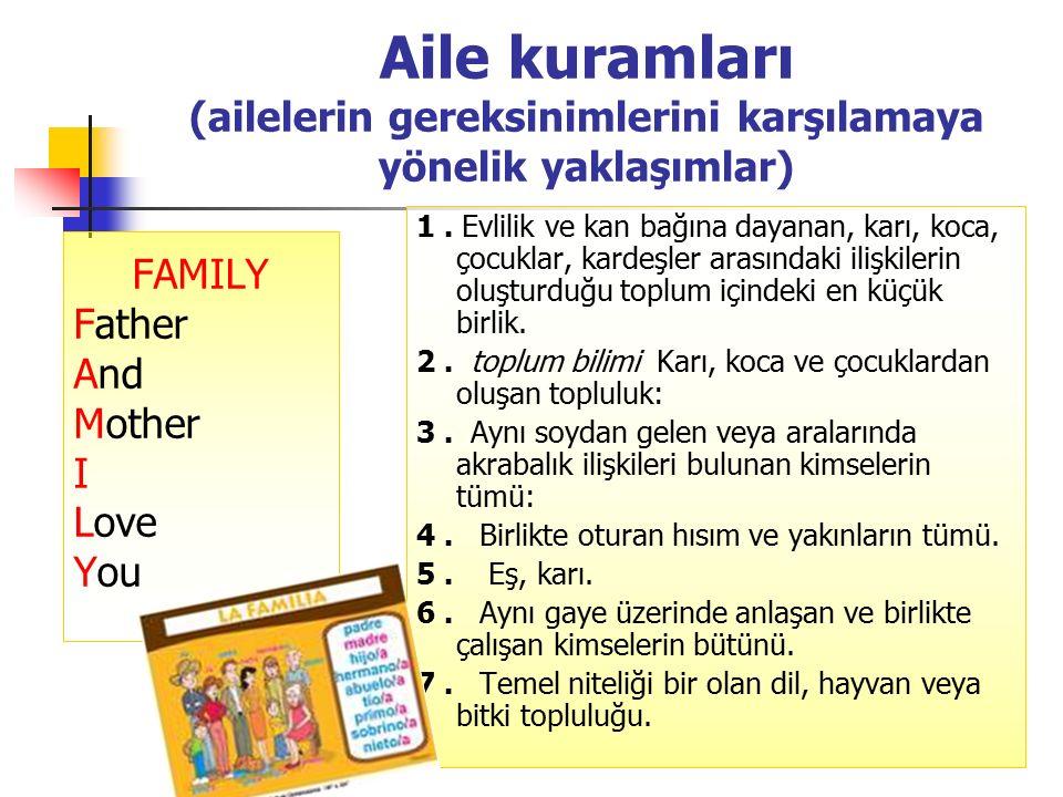Aile kuramları (ailelerin gereksinimlerini karşılamaya yönelik yaklaşımlar)