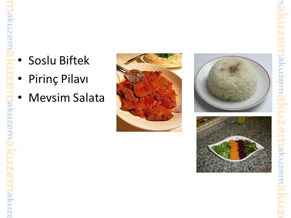 Soslu Biftek Pirinç Pilavı Mevsim Salata