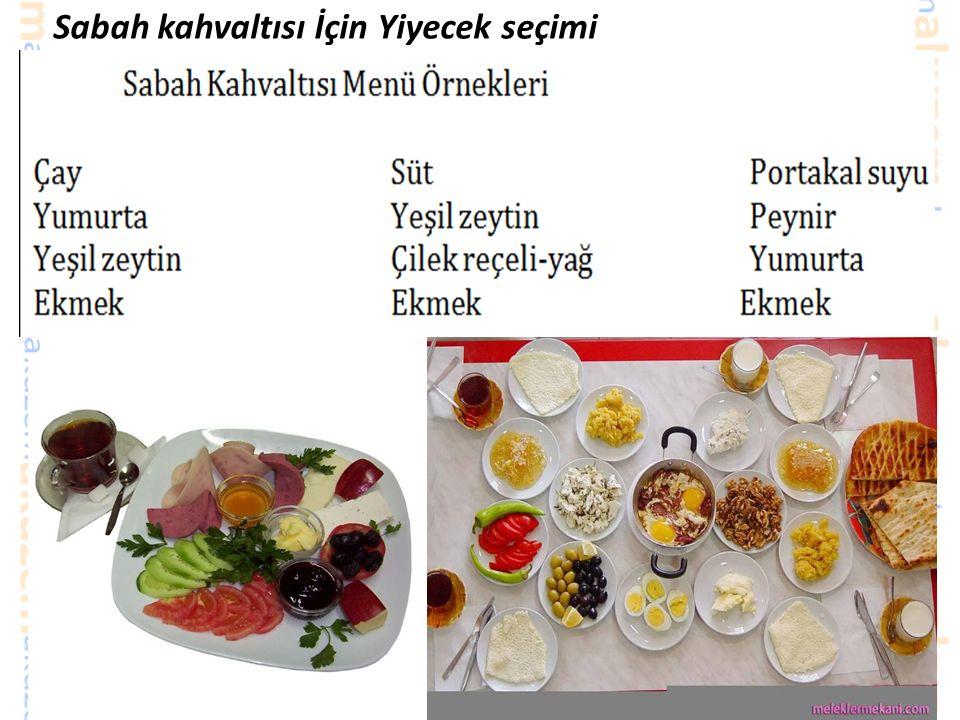 Sabah kahvaltısı İçin Yiyecek seçimi