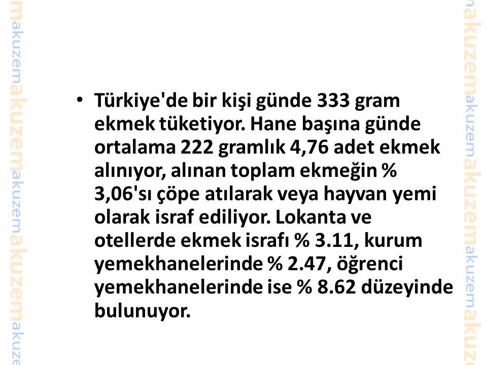 Türkiye de bir kişi günde 333 gram ekmek tüketiyor
