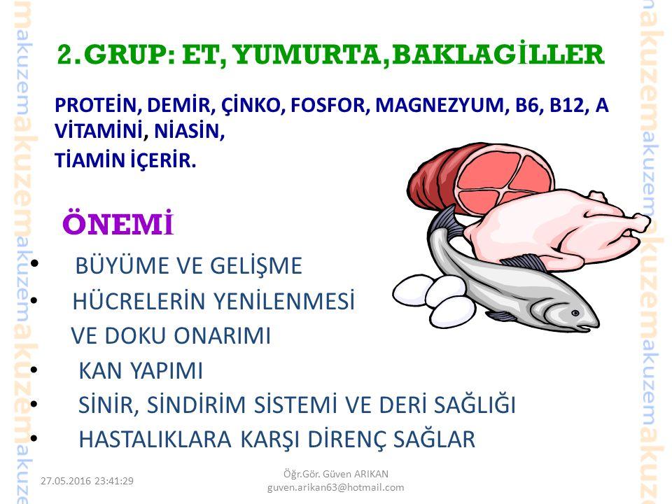 2.GRUP: ET, YUMURTA,BAKLAGİLLER