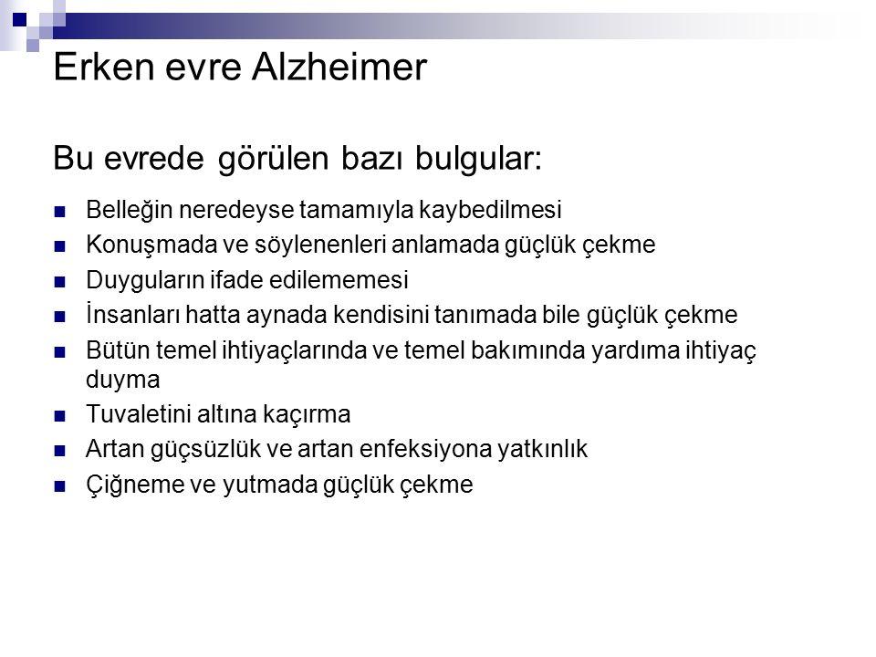 Erken evre Alzheimer Bu evrede görülen bazı bulgular: