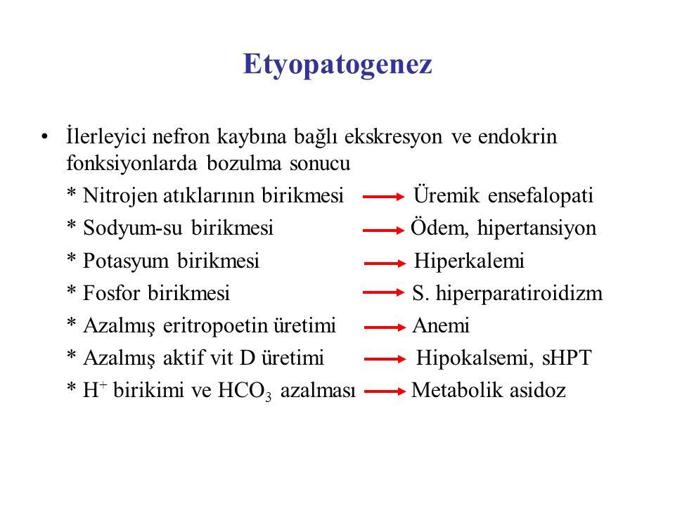 Etyopatogenez İlerleyici nefron kaybına bağlı ekskresyon ve endokrin fonksiyonlarda bozulma sonucu.