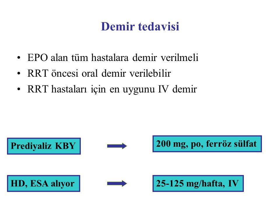 Demir tedavisi EPO alan tüm hastalara demir verilmeli