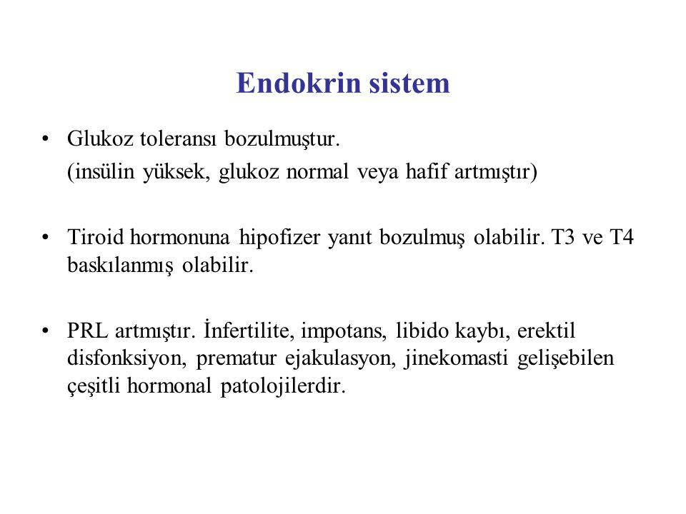 Endokrin sistem Glukoz toleransı bozulmuştur.