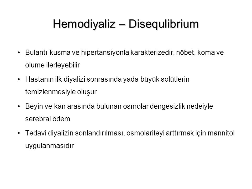 Hemodiyaliz – Disequlibrium