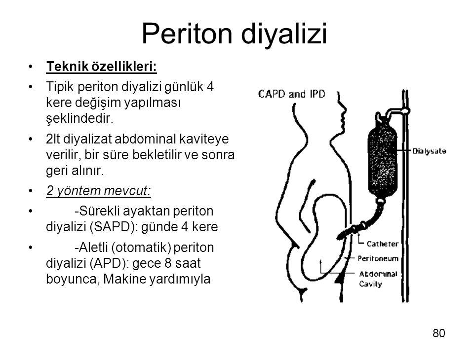 Periton diyalizi Teknik özellikleri: