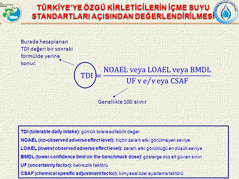 TDI= NOAEL veya LOAEL veya BMDL UF v e v eya CSAF