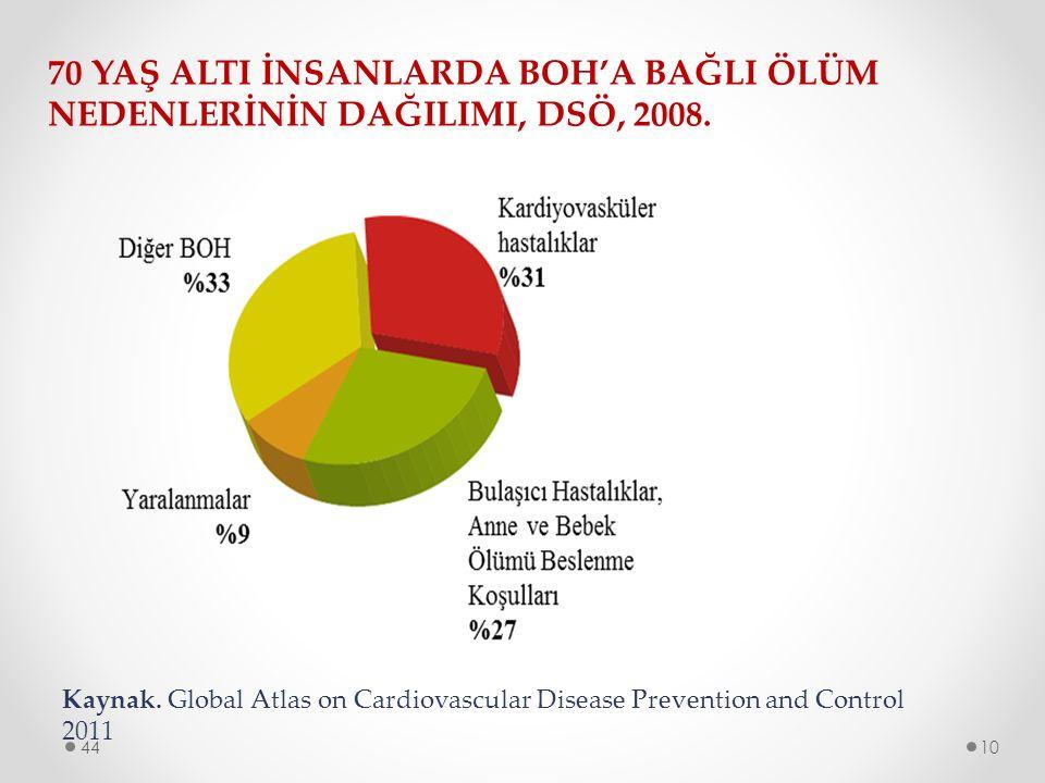70 YAŞ ALTI İNSANLARDA BOH'A BAĞLI ÖLÜM NEDENLERİNİN DAĞILIMI, DSÖ, 2008.