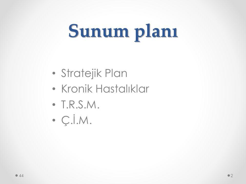 Sunum planı Stratejik Plan Kronik Hastalıklar T.R.S.M. Ç.İ.M. 44
