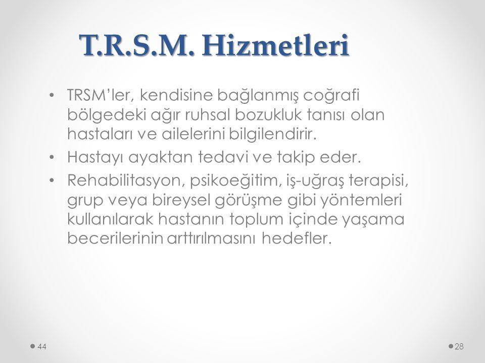 T.R.S.M. Hizmetleri TRSM'ler, kendisine bağlanmış coğrafi bölgedeki ağır ruhsal bozukluk tanısı olan hastaları ve ailelerini bilgilendirir.