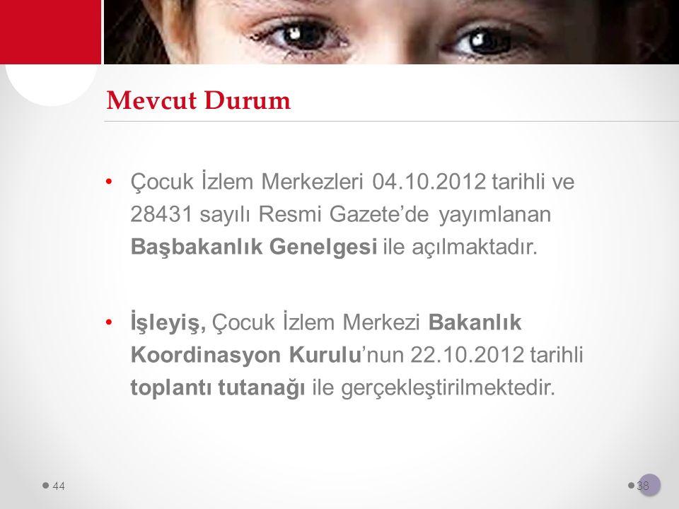 Mevcut Durum Çocuk İzlem Merkezleri 04.10.2012 tarihli ve 28431 sayılı Resmi Gazete'de yayımlanan Başbakanlık Genelgesi ile açılmaktadır.
