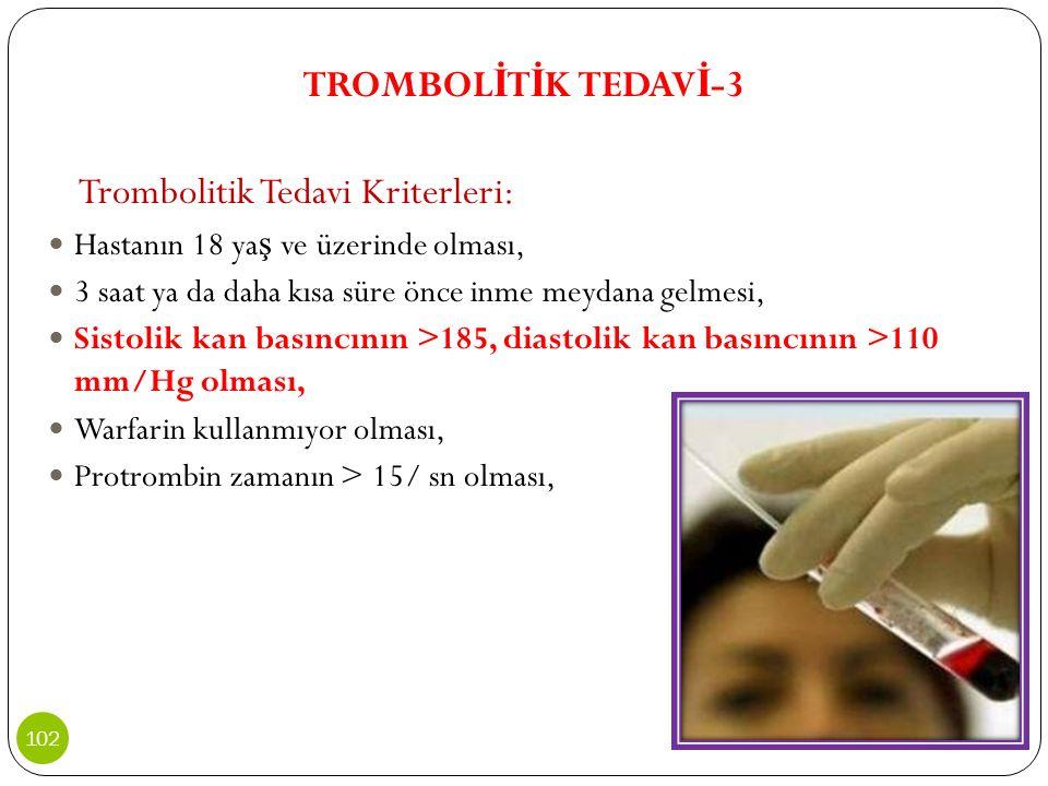 Trombolitik Tedavi Kriterleri: