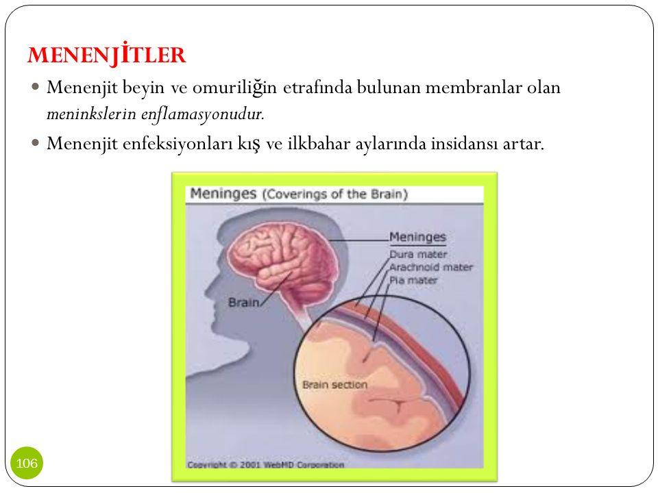 MENENJİTLER Menenjit beyin ve omuriliğin etrafında bulunan membranlar olan meninkslerin enflamasyonudur.