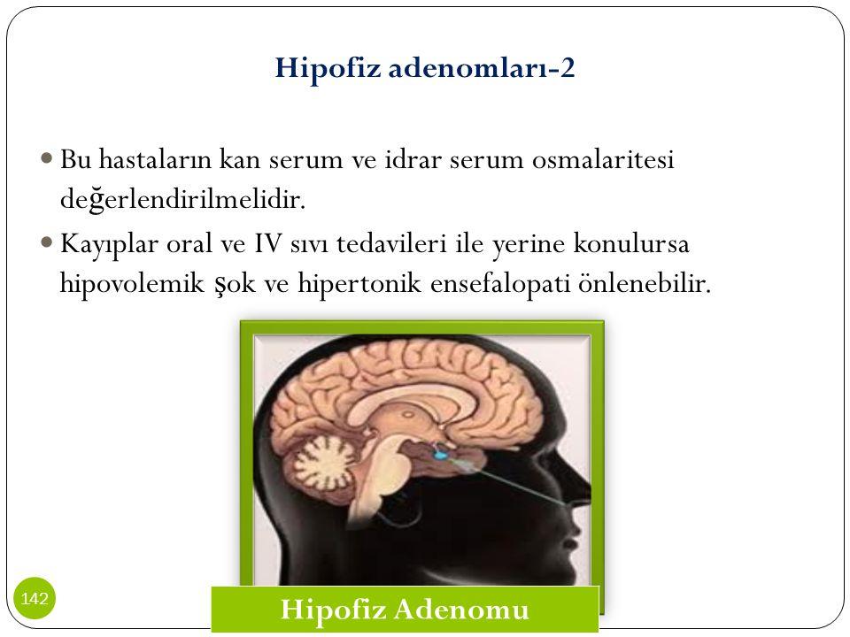 Hipofiz adenomları-2 Bu hastaların kan serum ve idrar serum osmalaritesi değerlendirilmelidir.