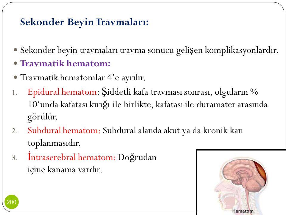 Sekonder beyin travmaları travma sonucu gelişen komplikasyonlardır.