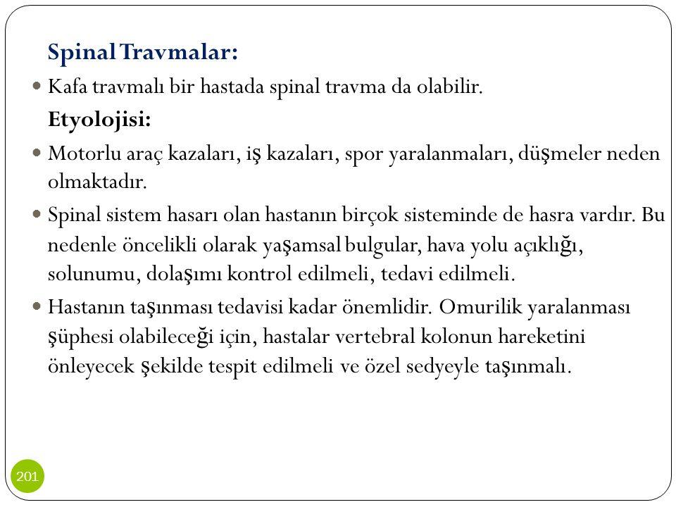 Spinal Travmalar: Kafa travmalı bir hastada spinal travma da olabilir.