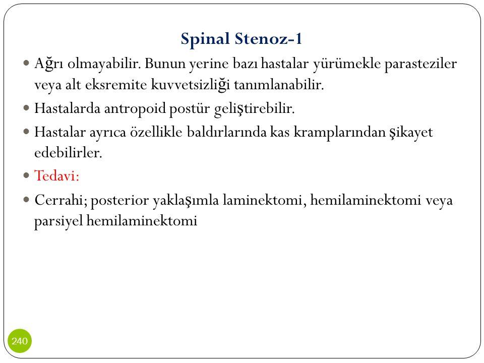 Spinal Stenoz-1 Ağrı olmayabilir. Bunun yerine bazı hastalar yürümekle parasteziler veya alt eksremite kuvvetsizliği tanımlanabilir.