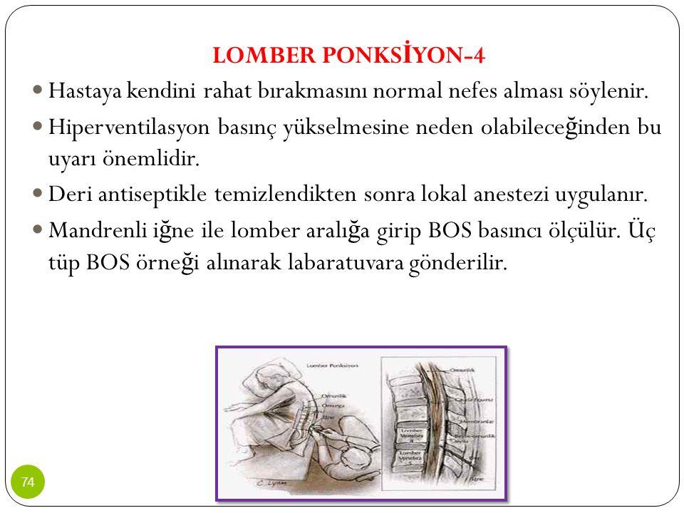 LOMBER PONKSİYON-4 Hastaya kendini rahat bırakmasını normal nefes alması söylenir.