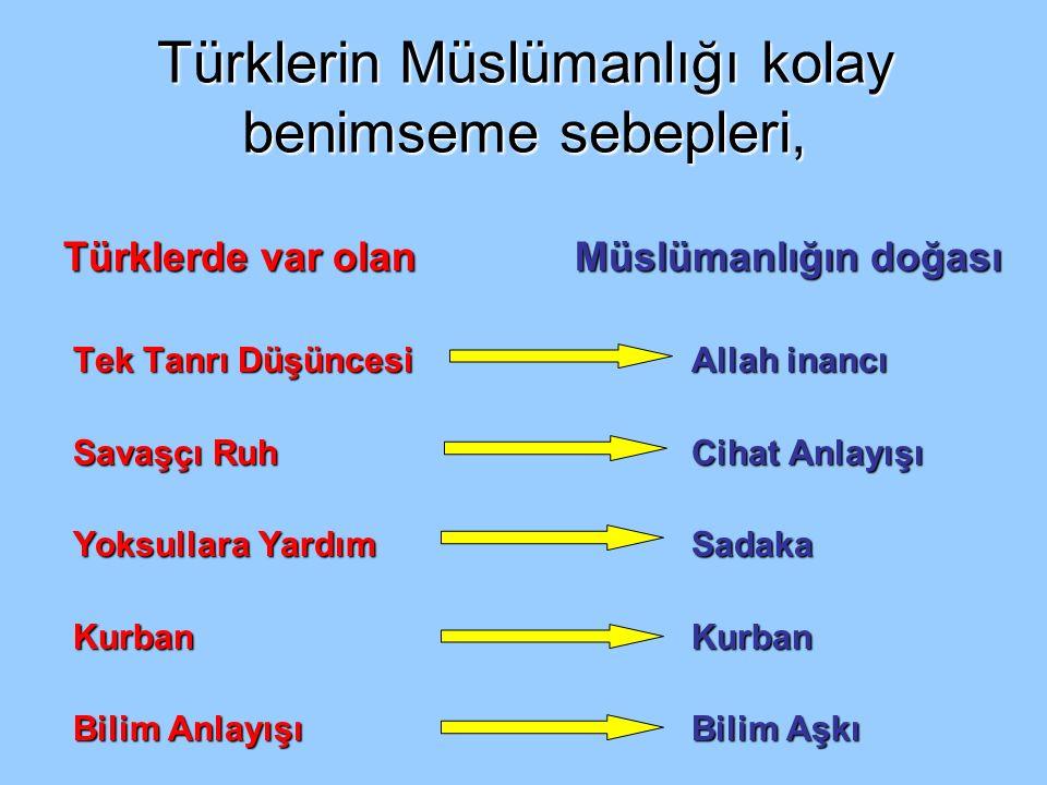 Türklerin Müslümanlığı kolay benimseme sebepleri,