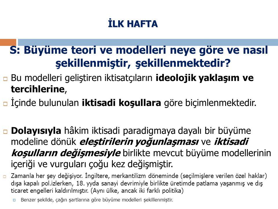 İLK HAFTA S: Büyüme teori ve modelleri neye göre ve nasıl şekillenmiştir, şekillenmektedir