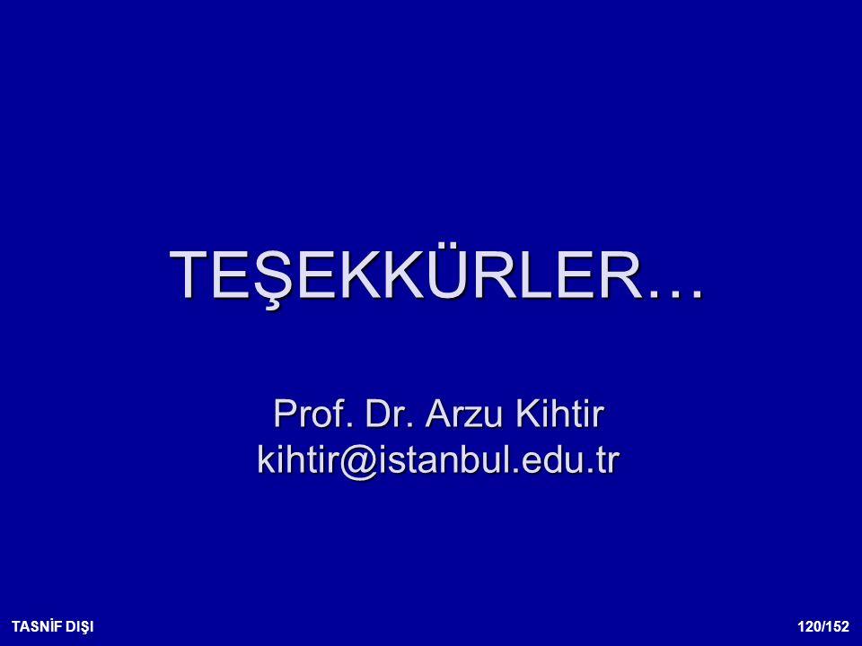TEŞEKKÜRLER… Prof. Dr. Arzu Kihtir kihtir@istanbul.edu.tr