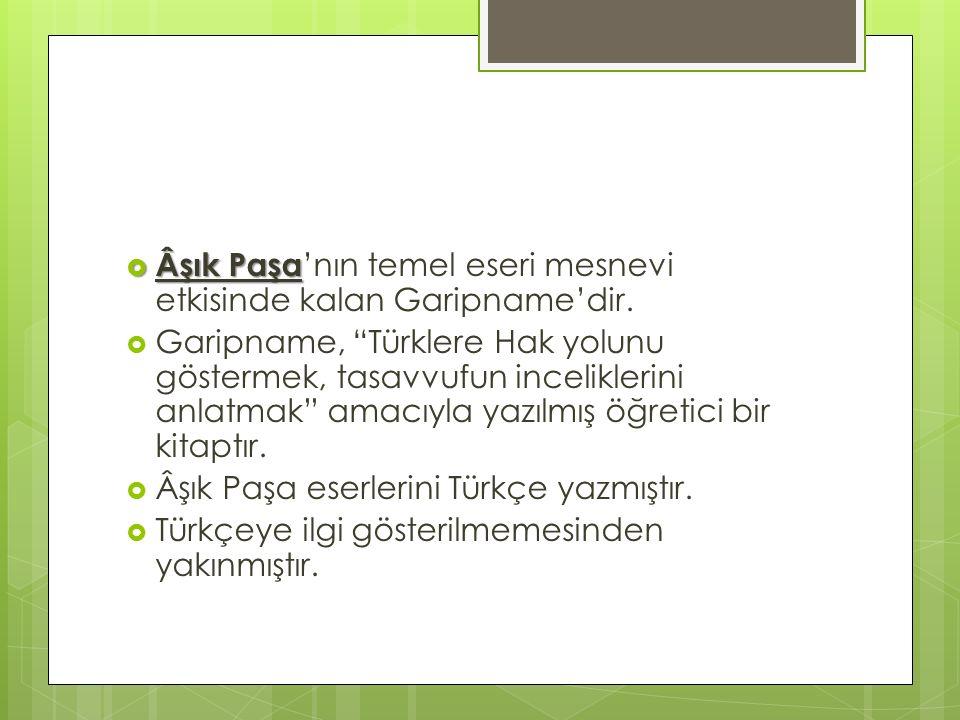 Âşık Paşa'nın temel eseri mesnevi etkisinde kalan Garipname'dir.