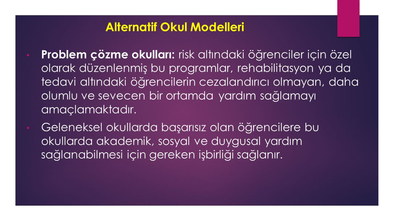Alternatif Okul Modelleri