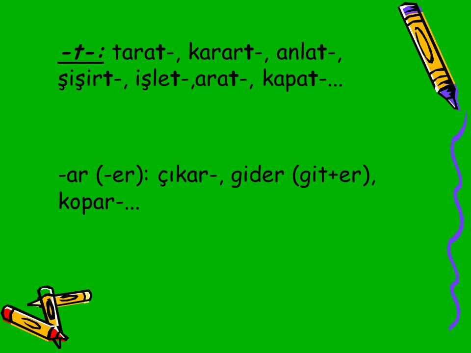-ar (-er): çıkar-, gider (git+er), kopar-...