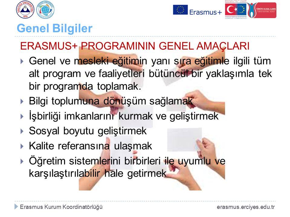 Genel Bilgiler ERASMUS+ PROGRAMININ GENEL AMAÇLARI