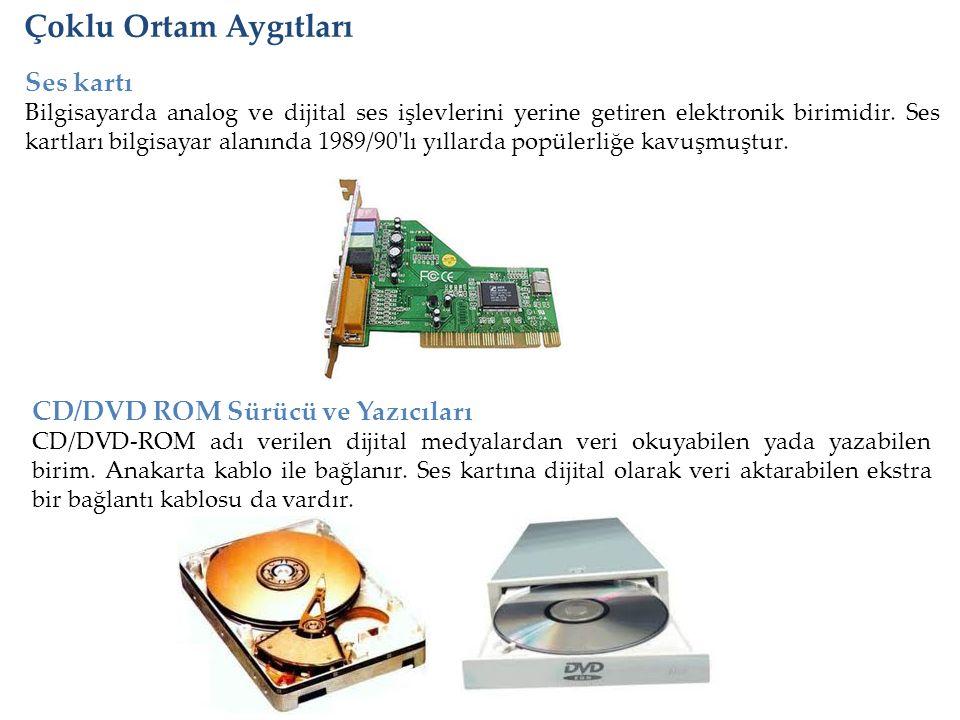 Çoklu Ortam Aygıtları Ses kartı CD/DVD ROM Sürücü ve Yazıcıları
