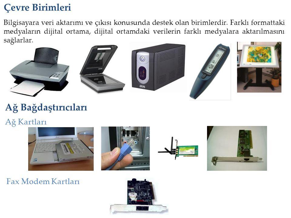 Çevre Birimleri Ağ Bağdaştırıcıları Ağ Kartları Fax Modem Kartları