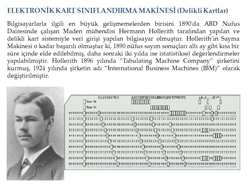 ELEKTRONİK KART SINIFLANDIRMA MAKİNESİ (Delikli Kartlar)