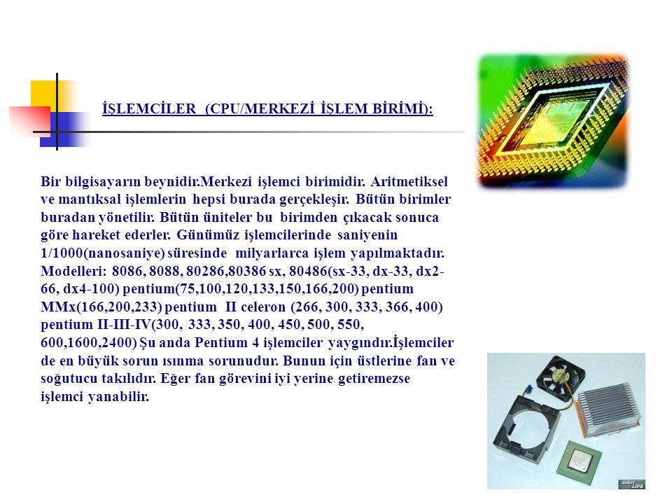 İŞLEMCİLER (CPU/MERKEZİ İŞLEM BİRİMİ):