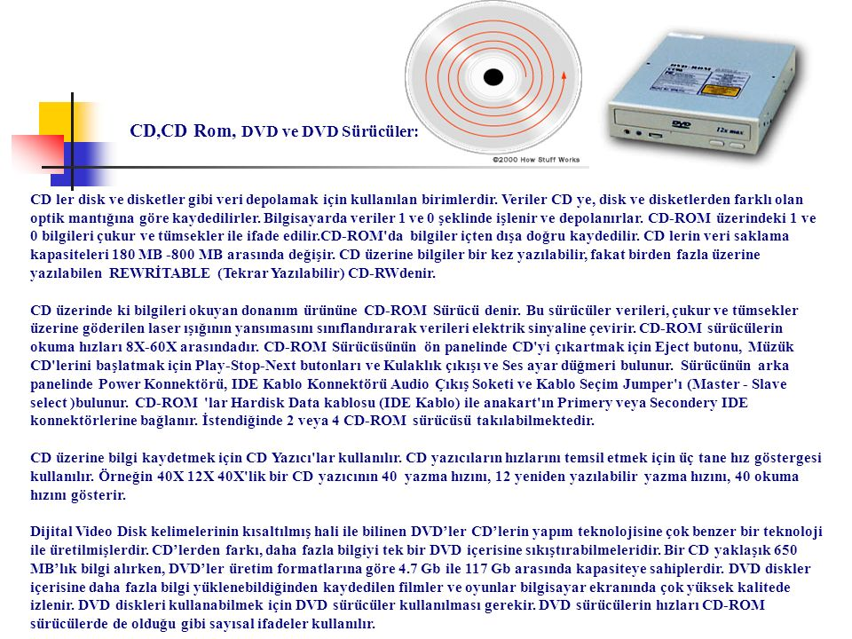 CD,CD Rom, DVD ve DVD Sürücüler: