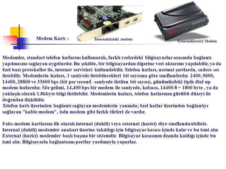 Modem Kartı : İnternal(dahili) modem