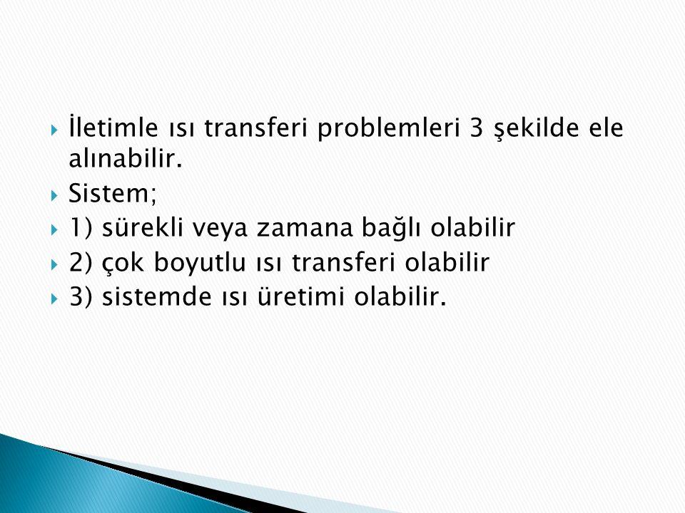 İletimle ısı transferi problemleri 3 şekilde ele alınabilir.